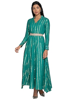 Light Teal Embellished Kurta With Belt by Our.Love