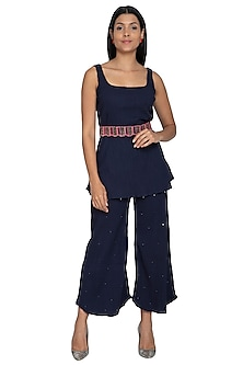 Navy Blue Tunic With Embellished Pants & Belt by Our.Love