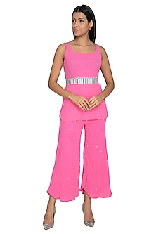 Neon Pink Tunic With Embellished Pants & Belt by Our.Love