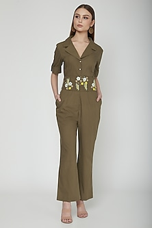 Olive Green Jumpsuit With Embellished Belt by Our.Love