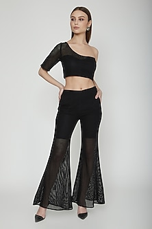 Black One Shoulder Mesh Crop Top by Our.Love