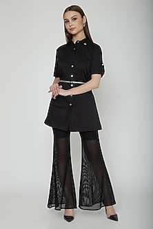 Black Long Shirt With Thin Buckled Belt by Our.Love