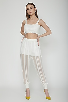 Frost White Striped Sheer Pants by Our.Love