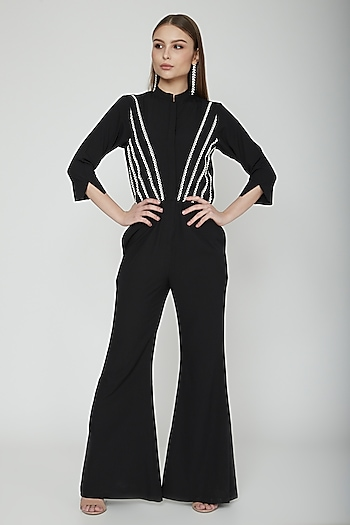Black Jumpsuit With Lace Detailing by Our.Love