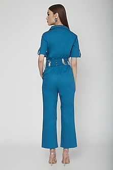 True Blue Jumpsuit With Embroidered Bag Belt by Our.Love