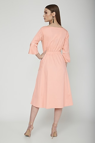 Salmon Pink Embroidered Midi Dress by Our Love