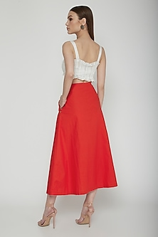 Red A-Line Flared Midi Skirt by Our.Love