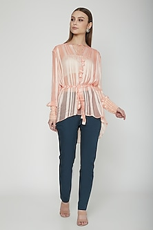 Salmon Pink Striped Top by Our.Love