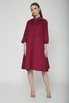 Plum Floral Embroidered Midi Dress by Our.Love