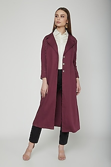 Sangria Embroidered Trench Coat With Belt by Our.Love