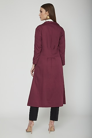Sangria Embroidered Trench Coat With Belt by Our Love