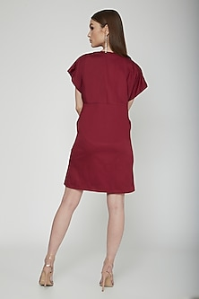 Plum Floral Embroidered Mini Dress by Our.Love