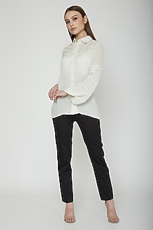 Frost White Rayon Crepe Shirt by Our.Love