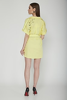 Lime Yellow Embroidered Shirt With Belt by Our.Love