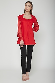 Red Embroidered Power Shoulder Top by Our.Love