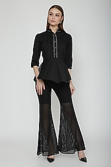 Black Cotton Satin Peplum Shirt by Our.Love
