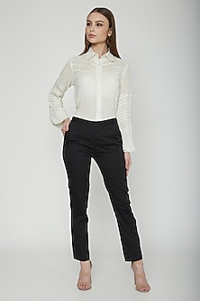 Black Trouser Pants With Pockets by Our.Love