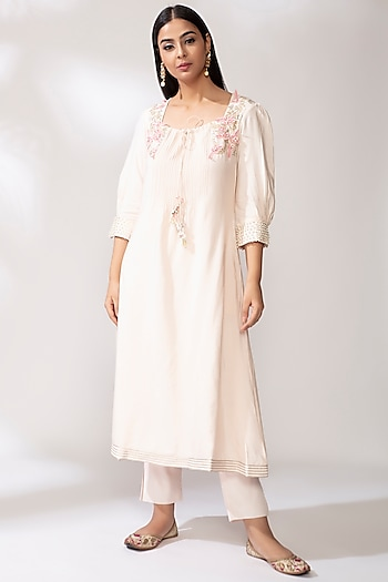 Blush Pink Embroidered Kurta Set by Our.Love