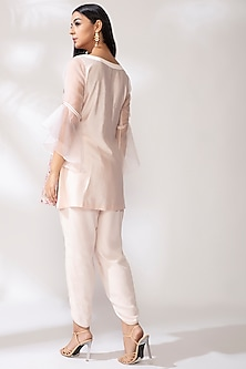 Blush Pink Embroidered Pintuck Kurta Set by Our.Love