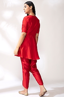 Crimson Embroidered Kurta Set by Our.Love