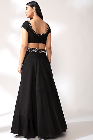 Black Embroidered Lehenga Set by Our Love
