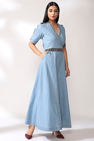 Sky Blue Denim Dress With Belt by Our Love