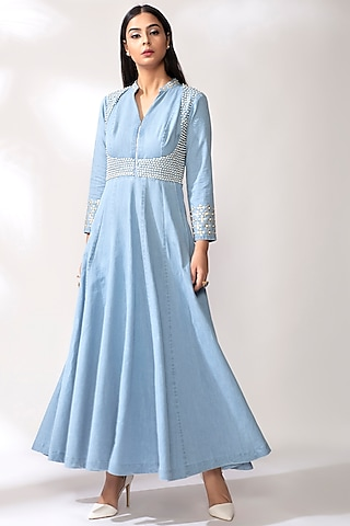Sky Blue Anarkali With Pearl Detailing by Our Love
