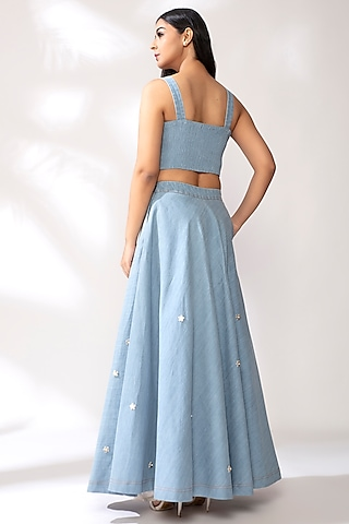 Sky Blue Pearl Detailed Lehenga Set by Our Love
