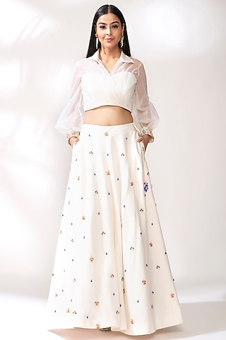 White Crystal Lehenga Set by Our Love