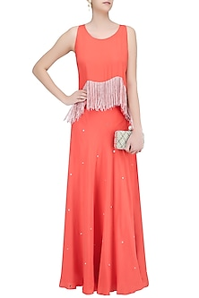 Coral Fringe Tassel Top and Sequins Lehenga Skirt Set by Ohaila Khan