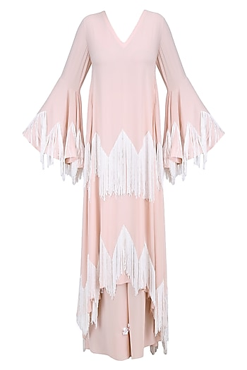 Blush and Ivory Fringe Tassel Kaftan Kurta and 3D Flower Motifs Palazzo Pants Set by Ohaila Khan