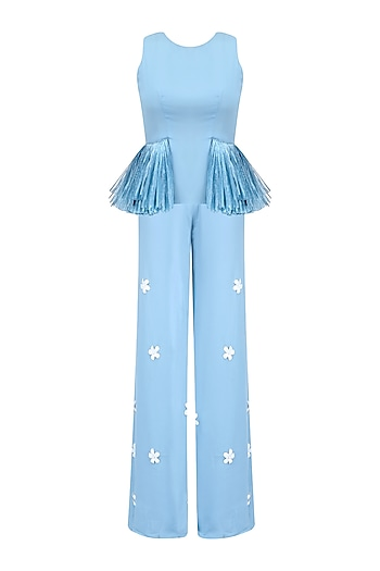 Ice Blue Fringe Tassel Pelum Top and 3D Flower Motifs Palazzo Pants Set by Ohaila Khan