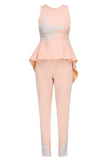 Apricot Resham Embroidered High Low Peplum Top and Pants Set by Ohaila Khan