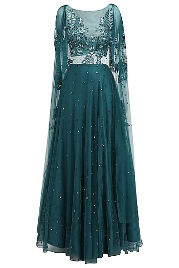 Teal Green Resham and Beads Embroidered Cape and Sharara Set by Ohaila Khan