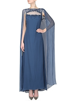 Cobalt blue leaf thread and sequins embroidered draped cape gown by Ohaila Khan