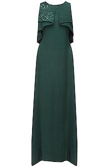 Hunter green leaf embroidered ruffled drape big cape gown by Ohaila Khan