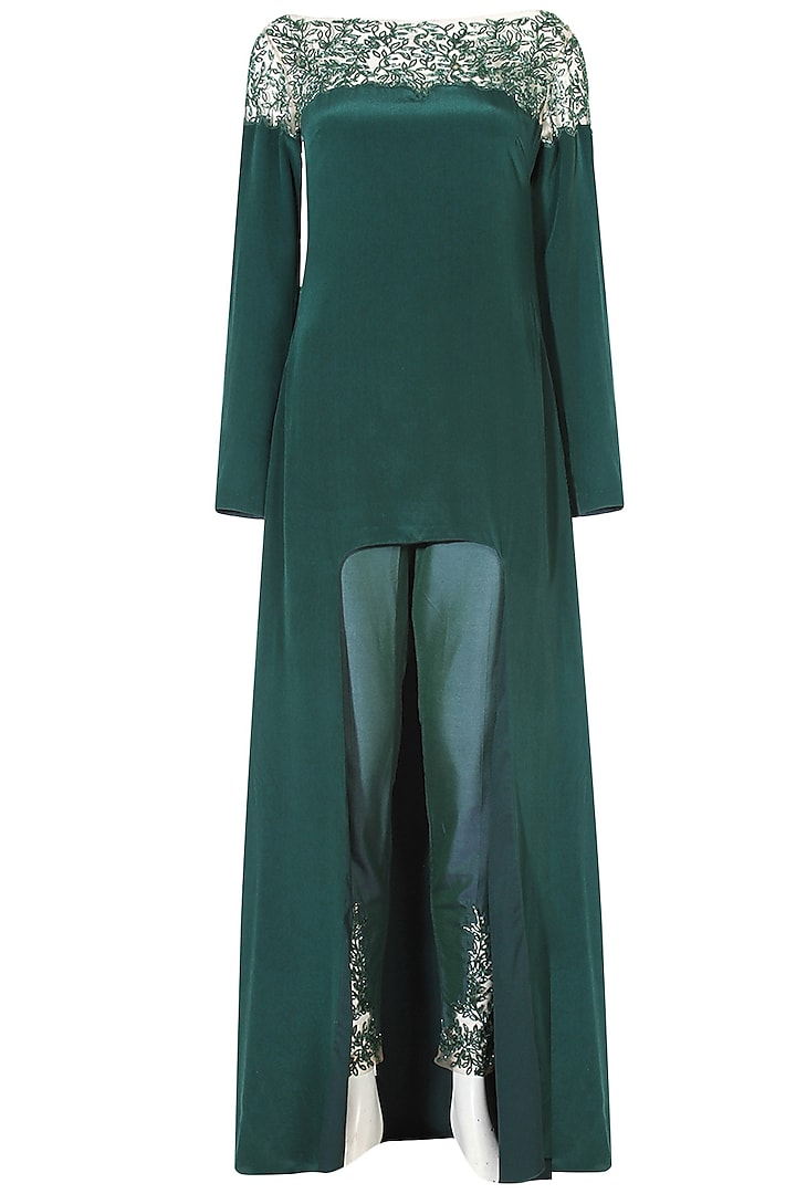 Forest green cutdana and crystal embroidered high low cape and pants set by Ohaila Khan