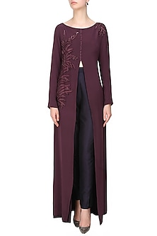 Aubergine leaf embroidered front open high slit cape jacket and navy blue pants set by Ohaila Khan