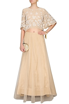 Beige Floral Lace Cutwork Cape Blouse And Lehenga Skirt Set by Ohaila Khan