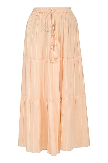 Blush Yellow Tiered Maxi Skirt by Ollari