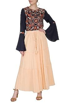 Blush Yellow Tiered Maxi Skirt by Ollari