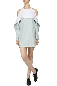 White and Blue Cold Shoulder Ruffle Dress by Olio