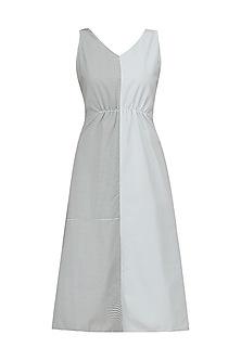 Grey Half and Half Sleeveless Maxi Dress by Olio