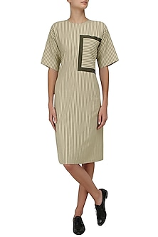 Khaki Green Knotted Tie Up Shift Dress by Olio