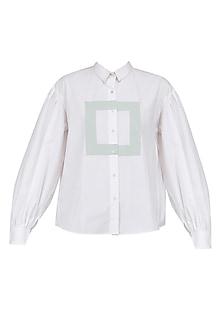 White Ruffle Detail Boxy Shirt by Olio