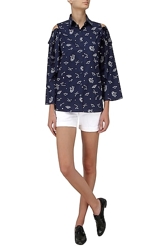 Blue Cold Shoulder Button Down Shirt by Olio
