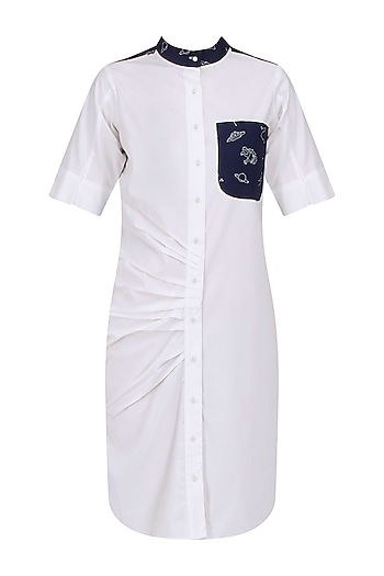 White and Black Button Down Shirt Dress by Olio
