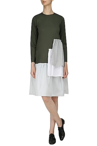 Green and White Drop Smock Midi Dress by Olio