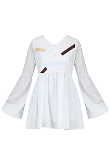 Off White Patchwork Smock Dress by Olio
