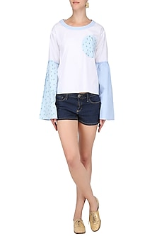White and Green Bell Sleeves Top by Olio